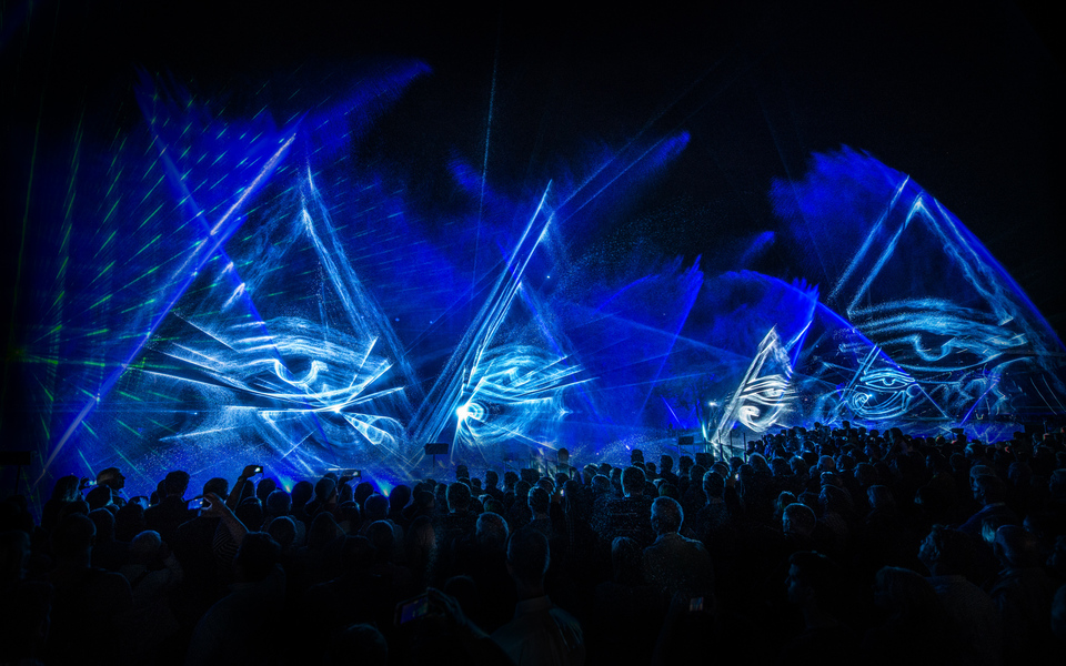 Outdoor 3d laser show with water screens