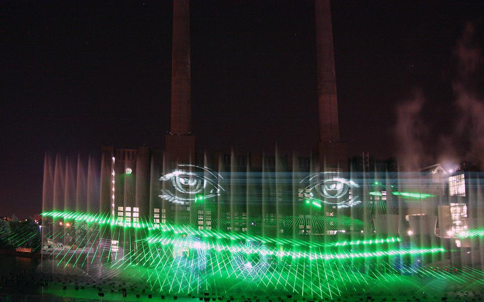 Tarm outdoor laser show with 3d effects at Volkswagen Autostadt